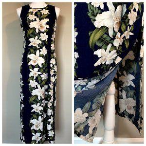 VTG Hawaiian Orchid Floral Split Side Maxi Dress